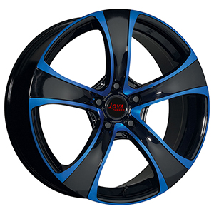 black and blue alloy wheel