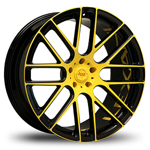 black rims with yellow lip