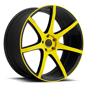 black and yellow rims