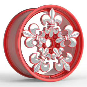 Red forged aluminum wheels with flower lip