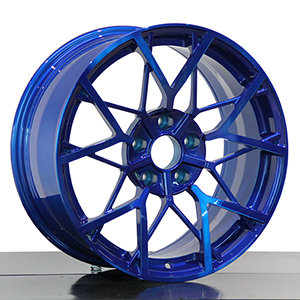 Blue alloy wheels