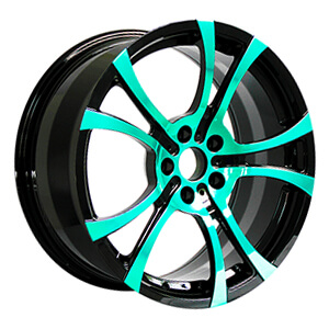 custom green and black rims