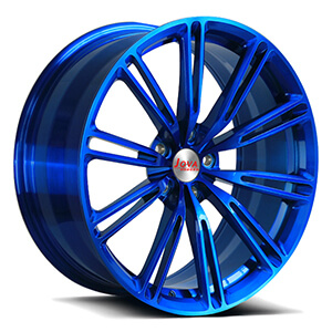 blue bmw staggered wheels