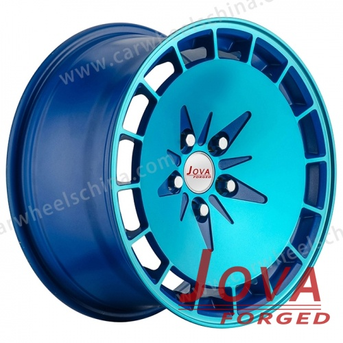 Deep lip rims blue forged wheels concave