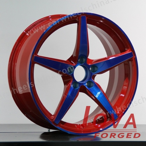 Red rims forged deep dish blue trim