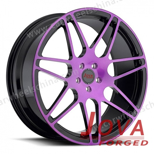 Alloy car wheels forged black and blue