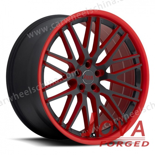 Black rims red lip forged wheels