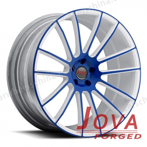 White and blue forged alloy rims lightweight
