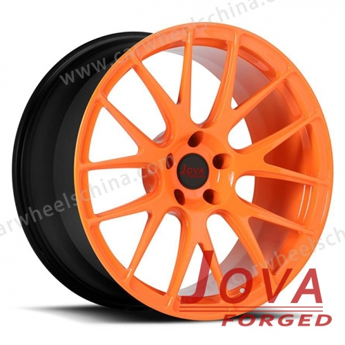 Black and orange rims forged 7 spoke 20 inch