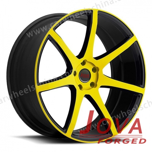 Black and yellow rims for forged aftermarket wheels