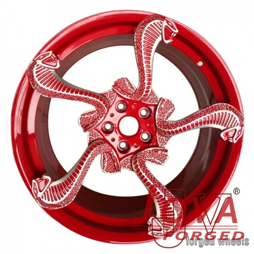 Red specialty forged rims with snake lip