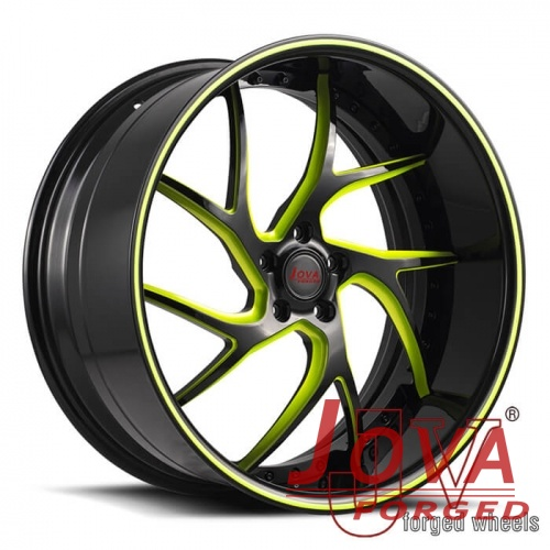 22 inch deep dish rims black and green rims