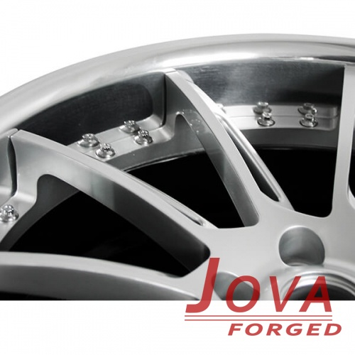 custom offset rims black grey 2-piece with rivets