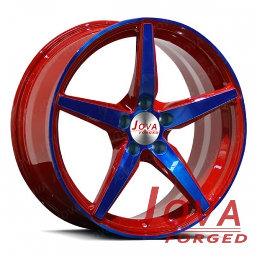 aluminum alloy car rims star spoke red blue