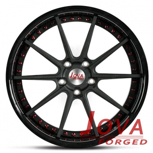 Custom made 2 piece wheels rims red bolts