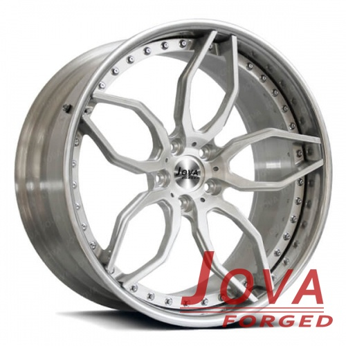 5 staggered spoke wheels silver 2 piece forged