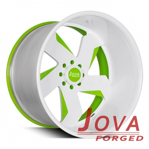 off road wheels white and green forged