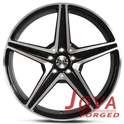 5 star spoke wheels black machined forged rims