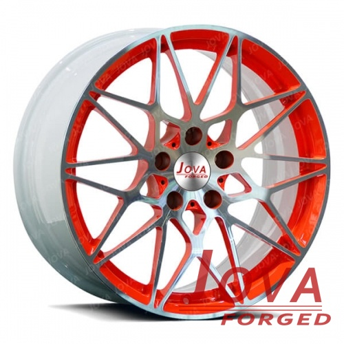 staggered mustang rims white and orange color