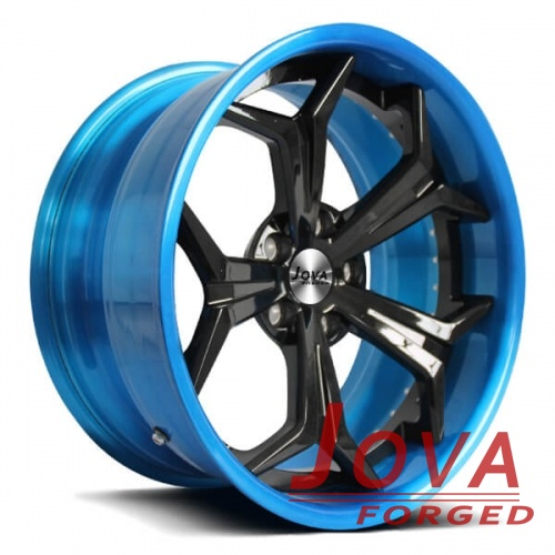 aftermarket rims 2 piece forged black and blue