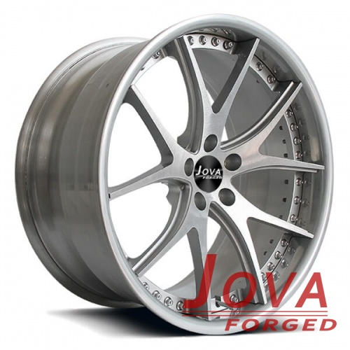 silver brushed rims 2 piece forged wheels